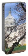 Us Capitol Building And Cherry Portable Battery Charger