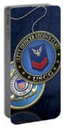 U.s. Coast Guard Petty Officer Second Class - Uscg Po2 Rank Insignia Over Blue Velvet Portable Battery Charger