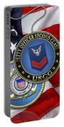 U. S. Coast Guard Petty Officer Second Class - Uscg Po2 Rank Insignia Over Us Flag Portable Battery Charger