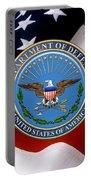 U. S. Department Of Defense - D O D Emblem Over U. S. Flag Portable Battery Charger