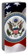 U. S. Department Of State - Dos Emblem Over U.s. Flag Portable Battery Charger