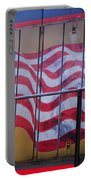 Us Flag On Side Of Freight Engine Portable Battery Charger