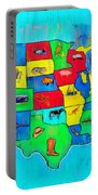 Us Map With Theme  - Free Style -  - Pa Portable Battery Charger