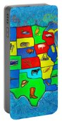 Us Map With Theme  - Van Gogh Style -  - Pa Portable Battery Charger
