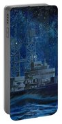 Uss Truxtun Dlgn-35 A Nuclear-powered Cruiser At Sea At Night Under The Milky Way Portable Battery Charger