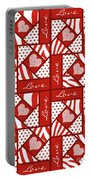 Valentine 4 Square Quilt Block Portable Battery Charger