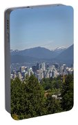 Vancouver Bc City Skyline And Mountains View Portable Battery Charger