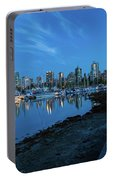 Vancouver Bc Skyline Along Stanley Park Seawall Portable Battery Charger