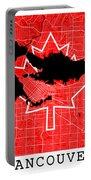 Vancouver Street Map - Vancouver Canada Road Map Art On Canada Flag Symbols Portable Battery Charger