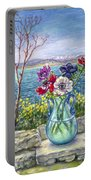 Vase Of Anemones With View Of Nafplio Portable Battery Charger