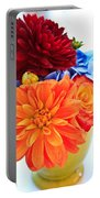 Vase Of Colorful Flowers Portable Battery Charger
