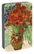 Vase With Daisies And Poppies Portable Battery Charger