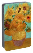 Vase With Twelve Sunflowers Portable Battery Charger