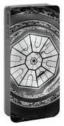 Vatican Staircase Looking Up Black And White Portable Battery Charger