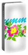 Vector Round Frame Isolated With Summer Flowers In Vintage Style Portable Battery Charger