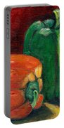 Vegetable Still Life Green And Orange Pepper Grace Venditti Montreal Art Portable Battery Charger