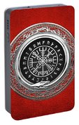 Vegvisir - A Silver Magic Viking Runic Compass On Red Leather  Portable Battery Charger