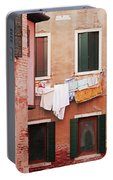 Venetian Laundry In Peach And Pink Portable Battery Charger