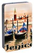 Venice, City Of Romance, Italy, Gondolas Portable Battery Charger