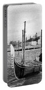 Venice. Gondola. Black And White. Portable Battery Charger
