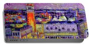 Venice Night View Modern Textural Impressionist Stylized Cityscape Portable Battery Charger
