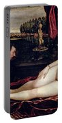 Venus And The Organist Portable Battery Charger by Titian