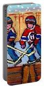 Verdun Hockey Rink Paintings Edmonton Oilers Vs Hometown Habs Quebec Hockey Art Carole Spandau       Portable Battery Charger