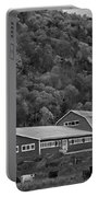 Vermont Farm With Cows Autumn Fall Black And White Portable Battery Charger