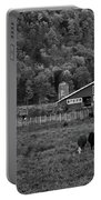 Vermont Farm With Cows Black And White Portable Battery Charger