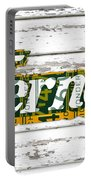 Vernors Beverage Company Recycled Michigan License Plate Art On Old White Barn Wood Portable Battery Charger