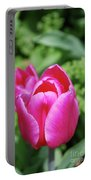 Very Pretty Dark Pink Tulip Flower Blossom Portable Battery Charger