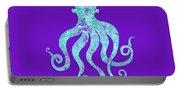 Vibrant Blue Octopus Beach House Coastal Art Portable Battery Charger