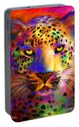 Vibrant Leopard Painting Portable Battery Charger