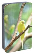 Vibrant Yellow Budgie Parakeet In The Summer Portable Battery Charger