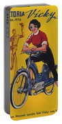 Victoria Vicky Iv - Motorcycle - Vintage Advertising Poster Portable Battery Charger