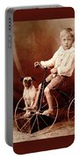 Victorian Boy With Pug Dog And Tricycle Circa 1900 Portable Battery Charger