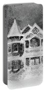 Victorian Christmas Black And White Portable Battery Charger