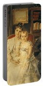 Victorian Family Scene Portable Battery Charger by Alfred Emile Stevens