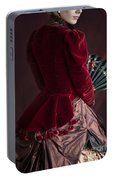 Victorian Lady In A Red Bussle Ensemble Portable Battery Charger