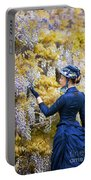 Victorian Woman Admiring Wisteria Flowers Portable Battery Charger