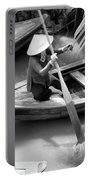 Vietnamese Woman Boat Ores Really For Tourist Mekong Delta  Portable Battery Charger