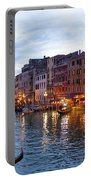 View From Rialto Bridge Of Venice By Night. Portable Battery Charger
