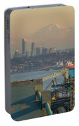 View Of Mount Baker And Vancouver Bc At Sunset Portable Battery Charger