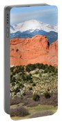 View Of Pikes Peak And Garden Of The Gods Park In Colorado Springs In Th Portable Battery Charger