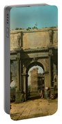 View Of The Arch Of Constantine With The Colosseum Portable Battery Charger