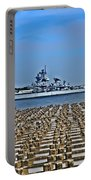 View Of The Battleship New Jersey From Philadelphia Portable Battery Charger
