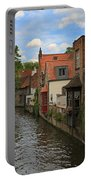 View Of The Canal From Maria Brug On Katelijnestraat In Bruges Portable Battery Charger