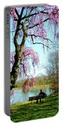 View Of The Lake In Spring Portable Battery Charger
