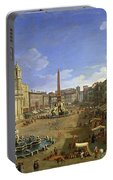View Of The Piazza Navona Portable Battery Charger