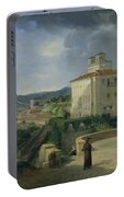 View Of The Villa Medici In Rome Portable Battery Charger